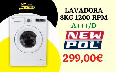 LAVADORA NEWPOL CARGA FRONTAL 8Kg 1200 RPM A+++/D – NWT1812