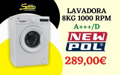 LAVADORA NEWPOL CARGA FRONTAL 8Kg 1000 RPM A+++/D – NWT0810