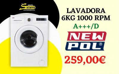 LAVADORA NEWPOL CARGA FRONTAL 6Kg 1.000 RPM A+++/D – NWT0610