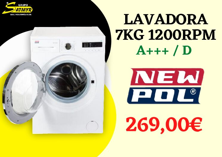 LAVADORA NEWPOL CARGA FRONTAL 7kg 1.200 RPM A+++/D – NWT1712