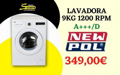 LAVADORA NEWPOL CARGA FRONTAL 9Kg 1200 RPM A+++/D – NWT0912